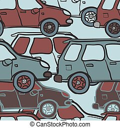 Textile seamless pattern of colored cars