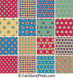 Textile seamless pattern SET No.4 of 16 different playful illustrations. Illustration is in eps8 vector mode, background on separate layer.