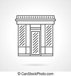 Textile shop facade flat line vector icon