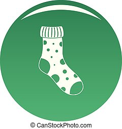 Textile sock icon vector green