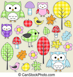 Textile stickers - Set of autumnal textile stickers.