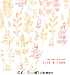 Textile textured fall leaves frame corner pattern background