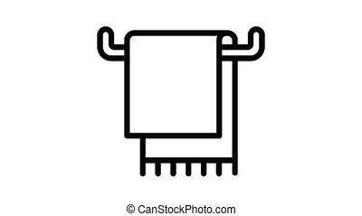 Textile towel icon animation outline best object on white background