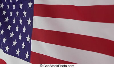 Textile United States flag moving in the wind