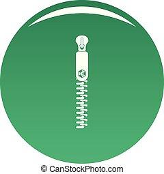 Textile zip icon vector green