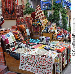 Textiles and fabrics for sale at a Turkish bazaar