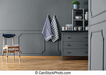 Textiles in grey kitchen interior