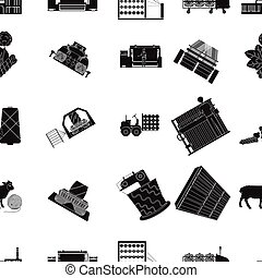 Textiles, industry, factory and other web icon in black...