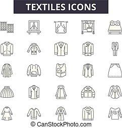 Textiles line icons, signs, vector set, linear concept, outline illustration