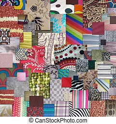 Textiles - squares overlapping textiles and fabrics