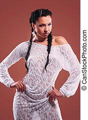 textilfreie , porträt, frau, mode