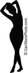 textilfreie , schwarze frau, silhouette, junger