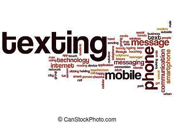 texting, 単語, 雲, 概念