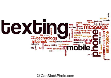texting, 概念, 単語, 雲