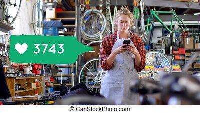 texting, 4k, kobieta, sklep, rower