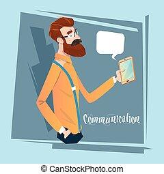 texting, bavarder, communication, téléphone portable, homme affaires, social, utilisation, homme, intelligent, réseau