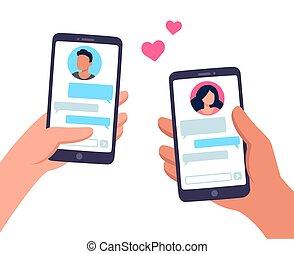 texting, coppia, smartphone