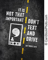 texting, e, dirigindo, aviso