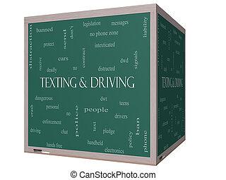 texting, e, dirigindo, palavra, nuvem, conceito, ligado, um, 3d, quadro-negro