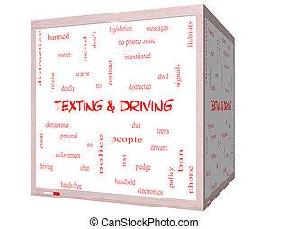 texting, e, dirigindo, palavra, nuvem, conceito, ligado, um, 3d, whiteboard