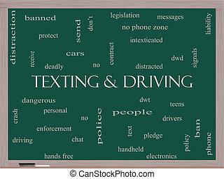 texting, e, dirigindo, palavra, nuvem, conceito, ligado, um, quadro-negro