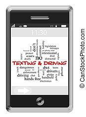 texting, e, dirigindo, palavra, nuvem, conceito, ligado, um, touchscreen, telefone