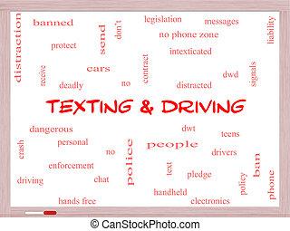 texting, e, dirigindo, palavra, nuvem, conceito, ligado, um, whiteboard
