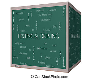 texting, et, conduite, mot, nuage, concept, sur, a, 3d, tableau noir