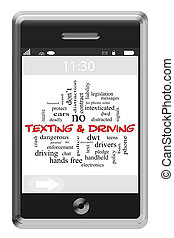 texting, et, conduite, mot, nuage, concept, sur, a, touchscreen, téléphone