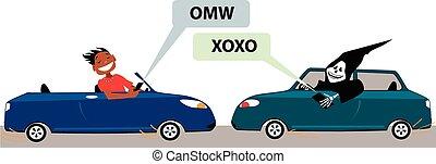 texting, guida, pericolo
