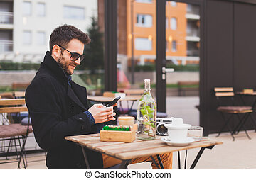 Texting in the cafe