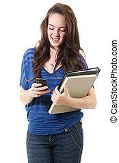 texting, kvinnligt studerande