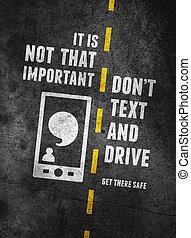texting, och, drivande, varning