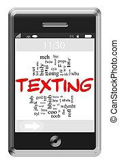 texting, palavra, nuvem, conceito, ligado, touchscreen, telefone