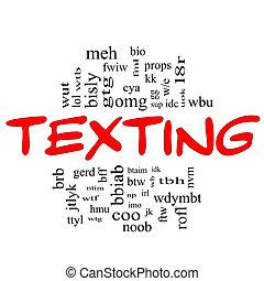 texting, szó, felhő, fogalom, alatt, piros, &, fekete