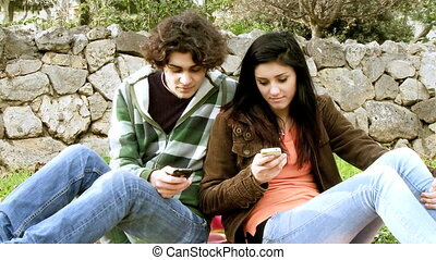 Texting with mobile phone is love