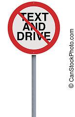 texting, y, conducción, no permitido