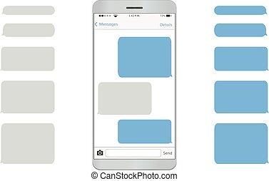 textmitteilung, beweglich, telefon., leerer