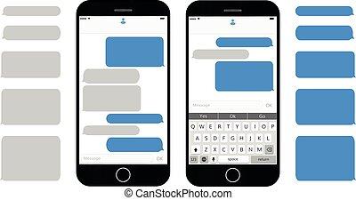 textmitteilung, kästen, auf, smartphone, schirm, leerer , text, blasen, satz, dialog, bubles, messaging, schnittstelle, mit, qwerty, tastatur, und, realistisch, modern, handy