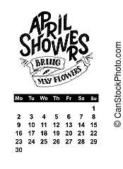 textning, 8., april, anföres, hand, 1, 0, vektor, design, oavgjord, 2, kalender