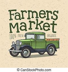 textning, bönder, tonarm transportera, retro, handstil, marknaden, engraving.