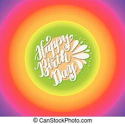 textning, födelsedag kort, lycklig