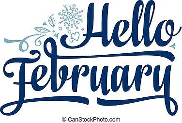 textning, februari, card., hej, helgdag, decor.