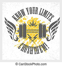 textning, flayer, affisch, fitness, etikett, t-shirt, ...