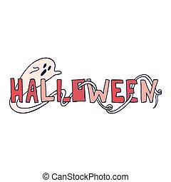 textning, ghost., affisch, halloween festa, enastående