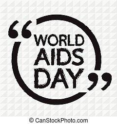 textning, illustration, design, aids, värld, dag