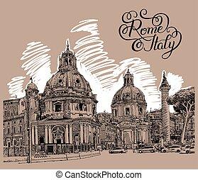 textning, italien, teckning, rom, digital, stadsbild, original