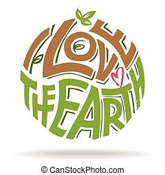 textning, kärlek, eco, hand, design, mull