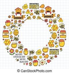 textning, marknaden, vaxkaka, bikupa, mässa, bin, kagge, ...