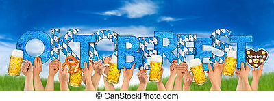 textning, muggar, folk, öl, räcker, oktoberfest